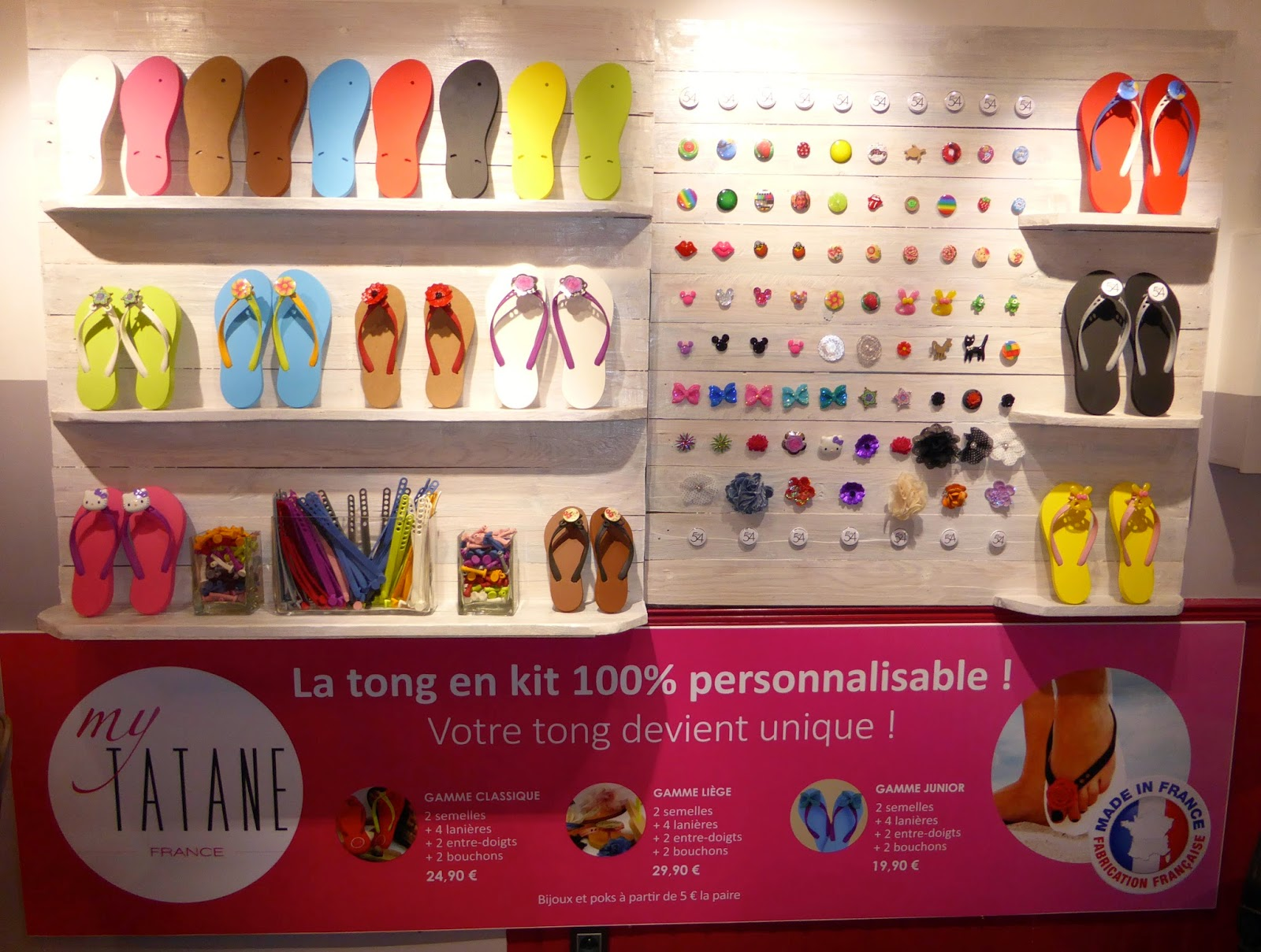"Les tongs ""My Tatane""100 % made in France et 100 % personnalisées au Studio 54."