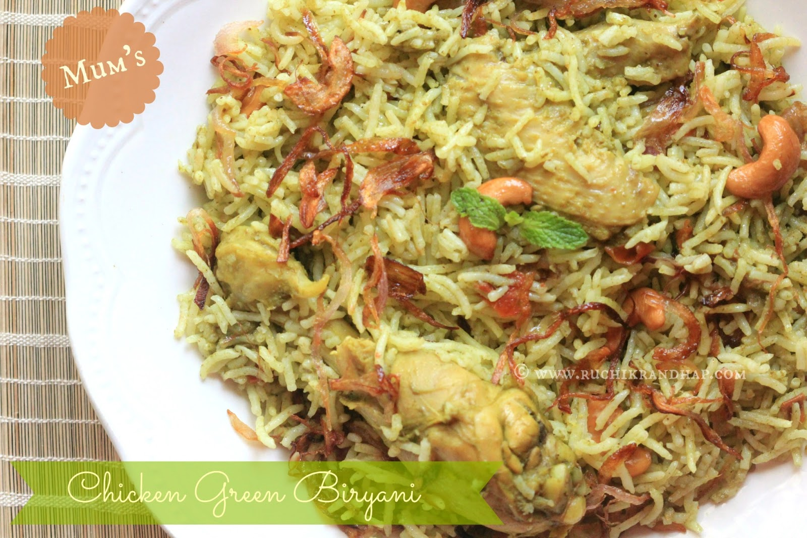 Mum 39 s chicken green biryani pressure cooker method the for Chicken biryani at home