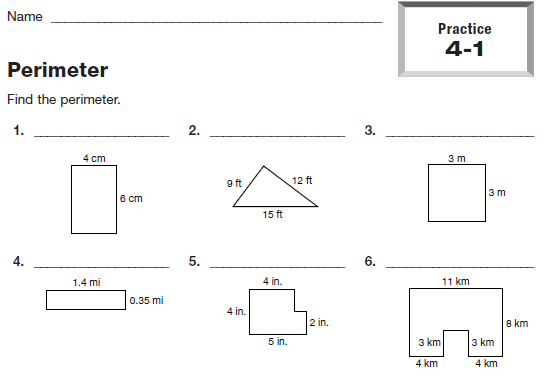 Tonight's homework is the Perimeter worksheet (4-1 problems 1-13) .