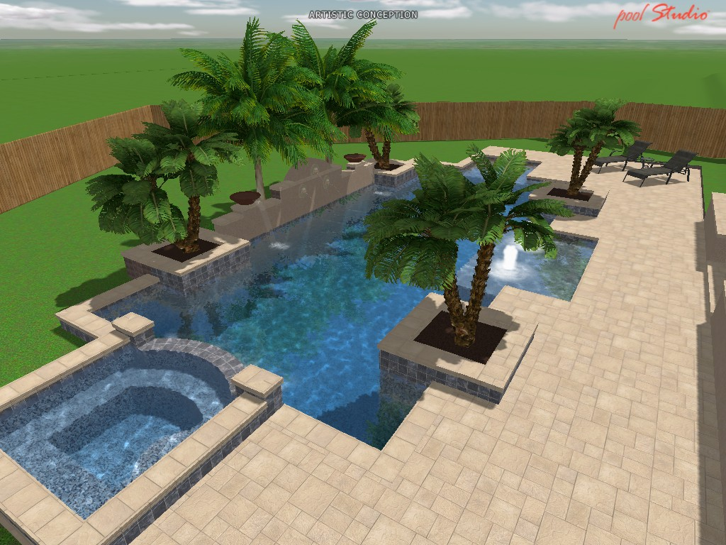 Classic style home new pool drawing for Pool design drawings
