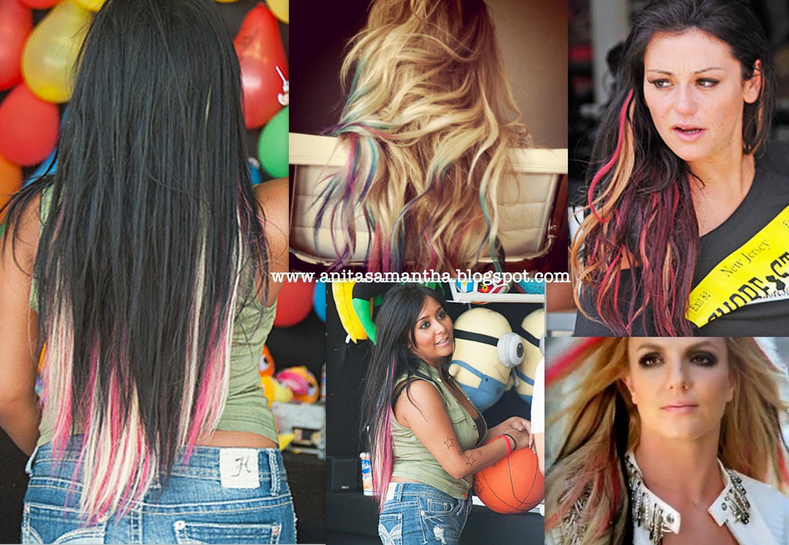 Anita Samantha Celebrity Trend Alert Pink Blonde Highlighted Hair