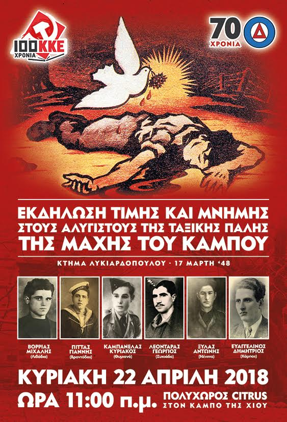 Εκδήλωση τιμής  και μνήμης στους αλύγιστους της ταξικής πάλης της μάχης του Κάμπου