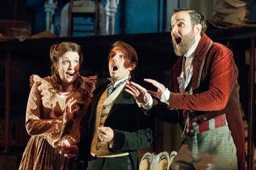Kitty Whately (Rosina) Nico Darmanin (Almaviva) and Nicholas Lester (Figaro) at Opera Holland Park, 2014 © Fritz Curzon