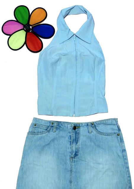 bluza decupata la umeri, cu fermoar in fata, albastru deschis. O bluza pentru pantaloni si fuste de blugi