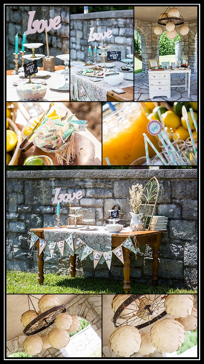 details of wedding decorations handmade by the bride, vintage inspiration
