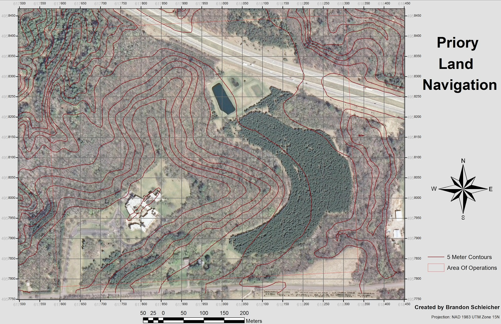figure 2 aerial image with 5 meter countour intervals and 50 square meter grid references the contrasting colors provided by the aerial image will make it