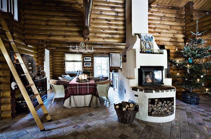 decoracion navidad  casa de campo nordica-chimenea cocina