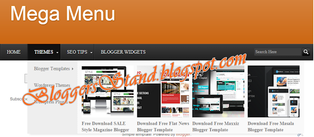 Add Mega Menu With Images or Thumbnails for blogger  menu