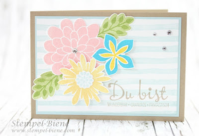 Stampin' Up Flower Patch, Sommerkarte basteln, Stampin Up Stempelparty, Stempel-biene, Stampin Up Brushstrokes, Hintergrundpapier basteln