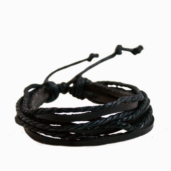 Bransoleta męska z woskowanego sznura i rzemienia