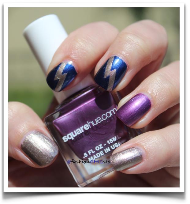 Square Hue nailpolish swatches purple, blue and gold.