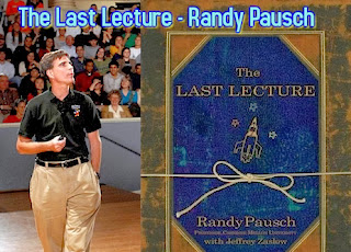 Image of Randy Pausch speaking to a crowd and the cover of his book The Last Lecture