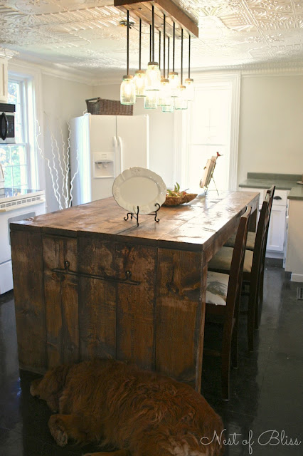 Mason Ball Jar Light and Rustic Island - Kitchen Renovation Makeover Progress - Before and After! - Nest of Bliss