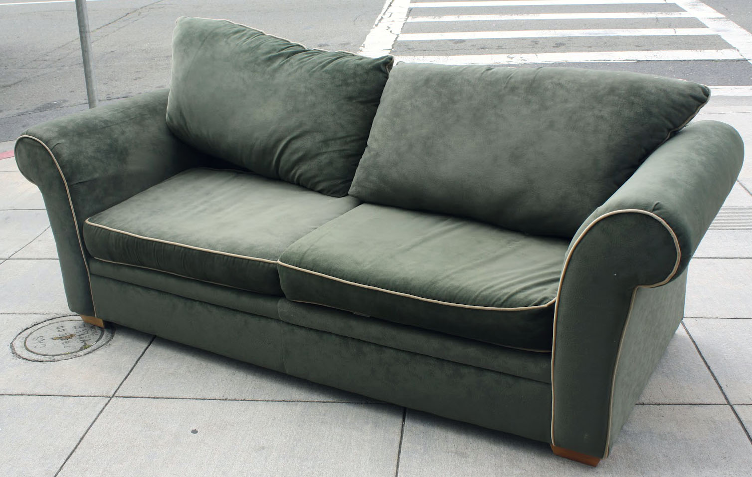 SOLD   Forest Green Sofa   $150