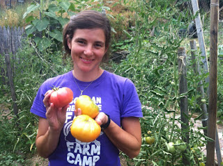 Jamie Stoneham picks her tomatoes