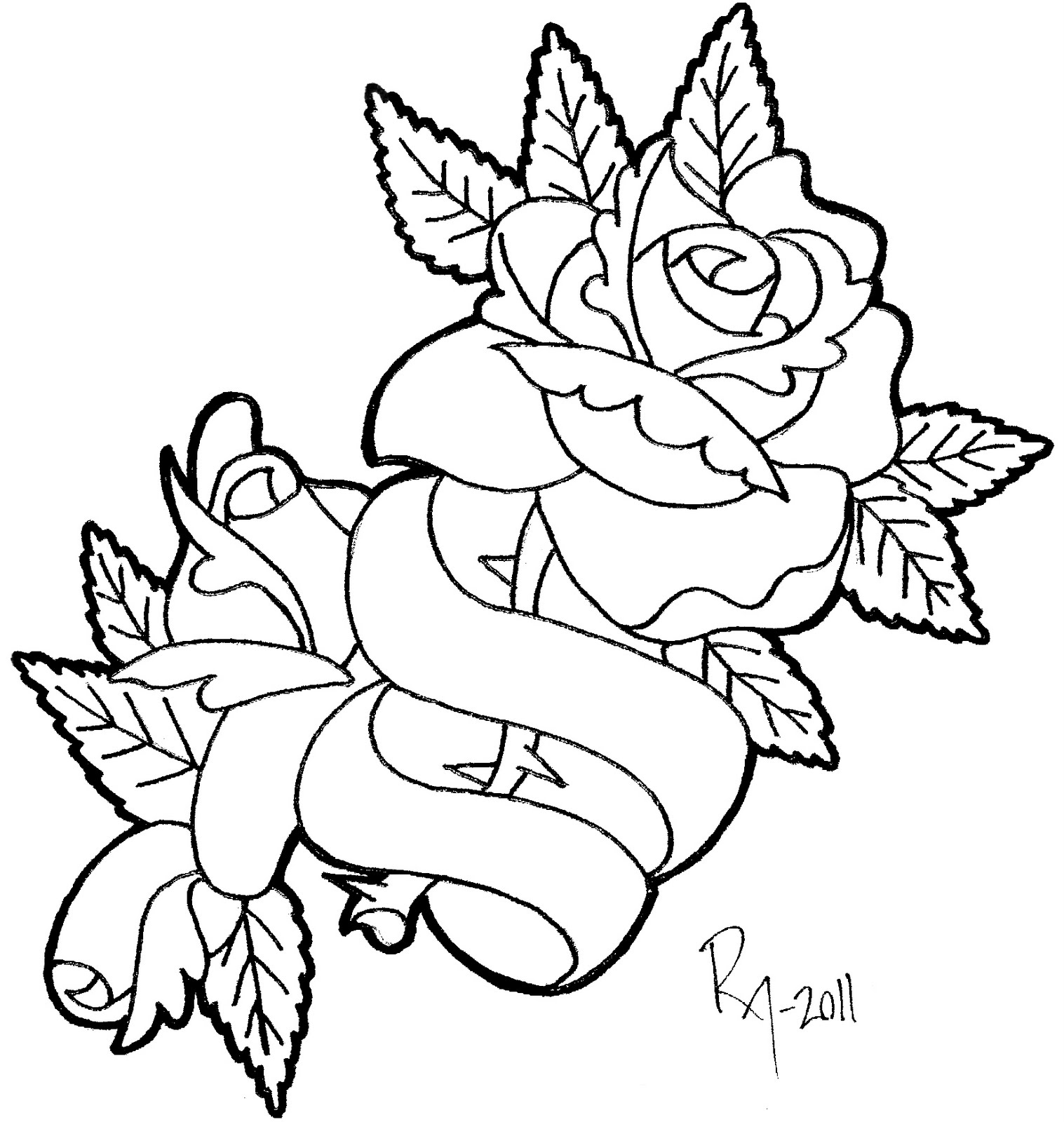 Free heart roses banner coloring pages