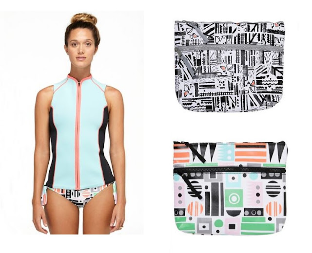 DVF x Roxy collaboration - Love Vest rash guard, bikini pouch, surf wear