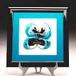 Aqua butterfly Fused Glass Picture