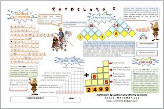 Día del Idioma, Retos matemáticos, Desafíos matemáticos, El Uno Más, Pirámides numéricas, Números en Palabras