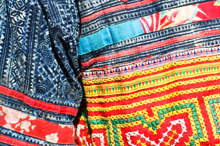 close up hmong embroidery, hmong batik, Laos Hmong jacket, ethnic dress, ethnic style