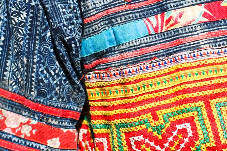 close up hmong embroidery, hmong batik, Laos Hmong jacket, ethnic dress, ethnic style