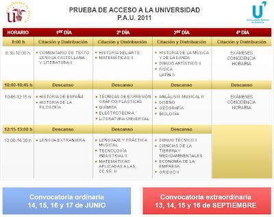 Calendario Selectividad 2011 Andalucía