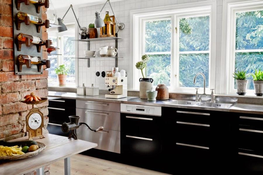 wystrój wnętrz, wnętrza, dom, mieszkanie, aranżacja, home decor, białe wnętrza, vintage, styl skandynawski, ceglana ściana, czerwona cegła, kuchnia