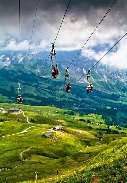 Zip lining in Grindelwald