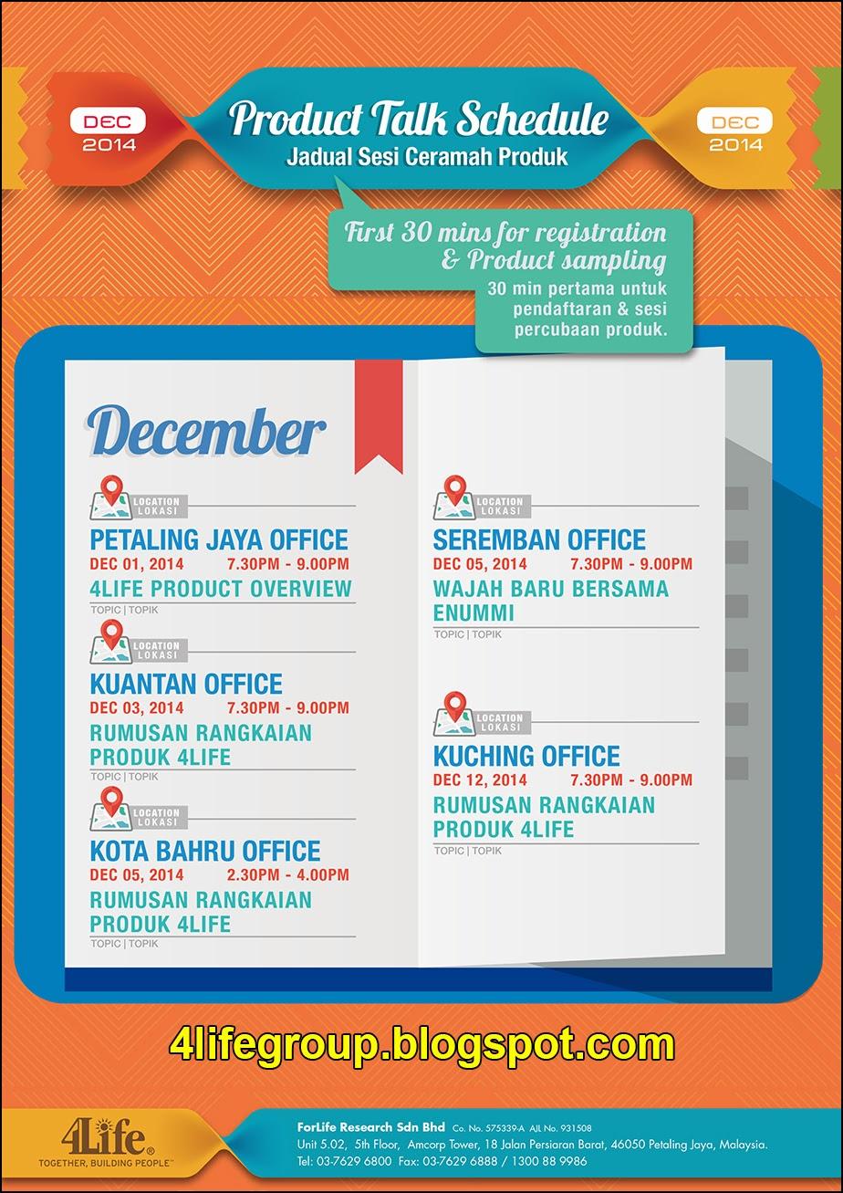 foto Jadual Ceramah Produk 4Life untuk bulan Disember 2014