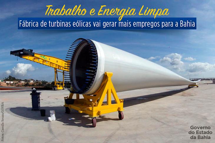 Fábrica de turbina eólica vai gerar empregos na Bahia
