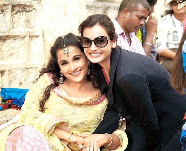 Vidya Balan and Ali Fazal on the sets of Bobby Jasoos