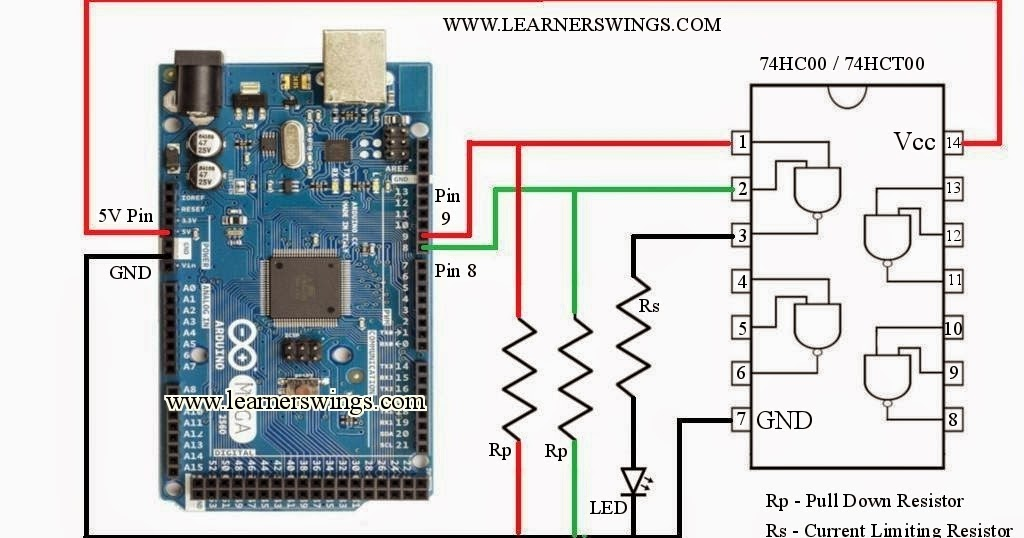 How To Control 74hc00 74hct00 Nand Gate Using Arduino