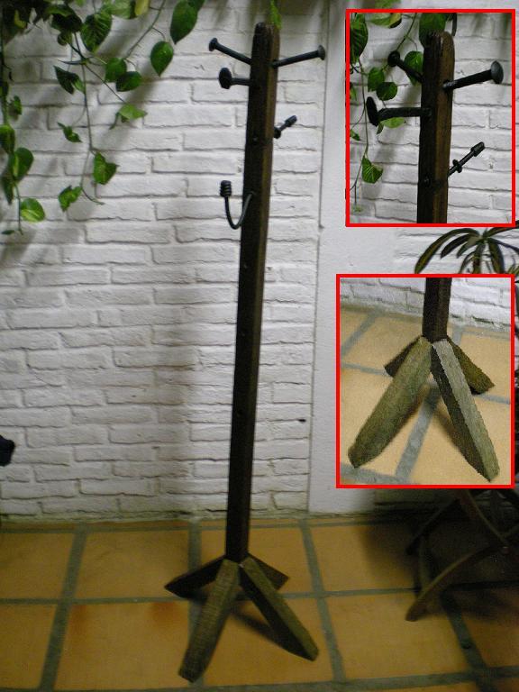 El fog n artesan as en madera r stica y hierro uruguay - Percheros de madera rusticos ...