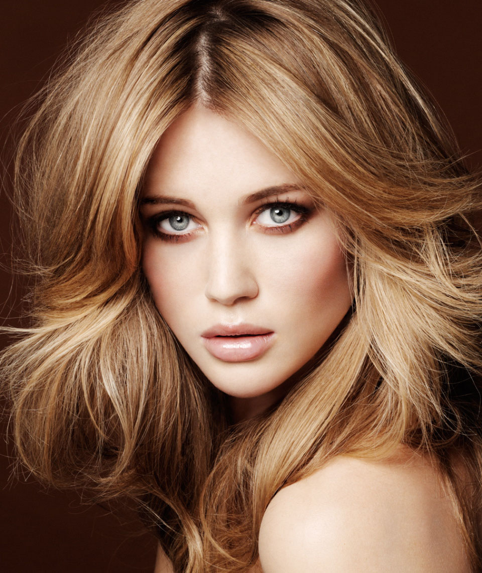 Golden Brown Hair Color with Highlights