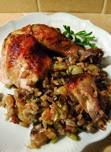 Seasonal Eating: Roast Chicken with Wild Rice Stuffing & Orange-Wine ...