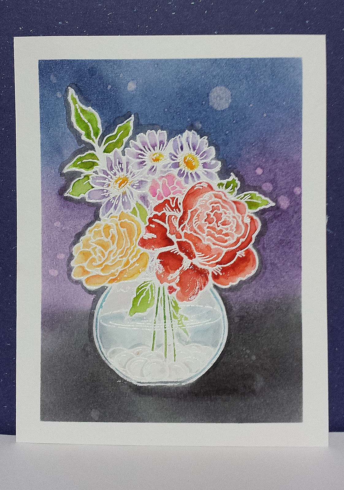 online card classes, watercolor, stampendous, distress inks
