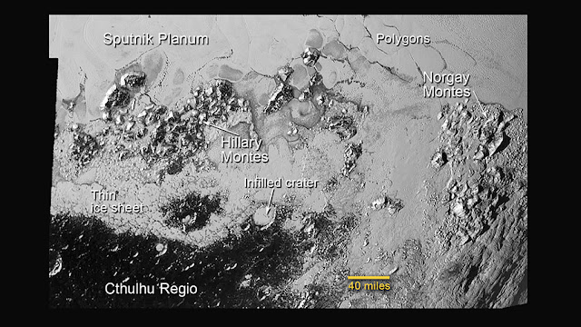 Annotated image of the southern region of Pluto's Sputnik Planum. The large crater highlighted in the image is about 30 miles (50 kilometers) wide, approximately the size of the greater Washington, DC area.  Credit: NASA/Johns Hopkins University Applied Physics Laboratory/Southwest Research Institute