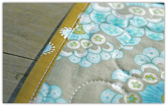 close up of a machine stitched binding