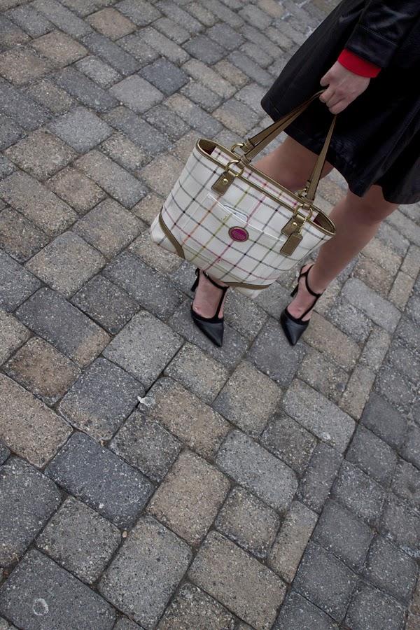 Ladybug, red, black, stripes, faux leather, Target skirt, H&M Jacket, Gap top, BCBGeneration heels, TJ Maxx heels, black heels, Coach bag