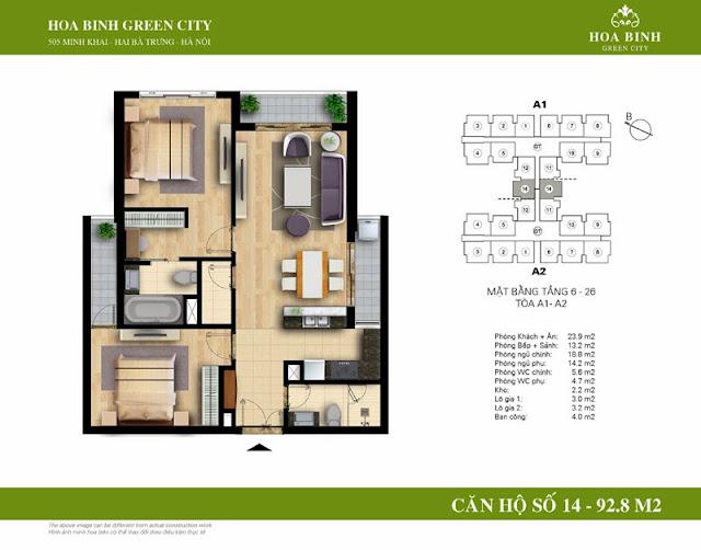 chung cư Hòa Bình Green City Căn hộ số 14 dt 92.8m2