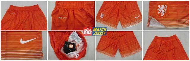Detail Celana Bola Grade Ori Timnas Belanda Away Warna Orange Terbaru 2015-2016