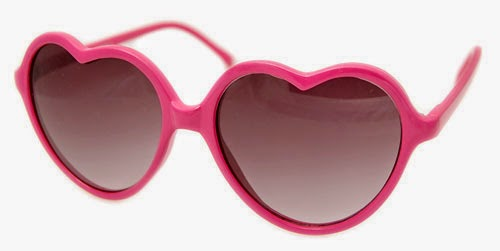 PINK HEART SHAPED VINTAGE STYLE SUNGLASSES