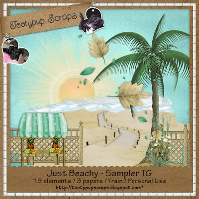 "Free scrapbook kit ""Just Beachy"" fromTootypup Scraps"