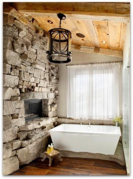 Baño Rustico Con Piedra:Baños con paredes de piedra – Colores en Casa