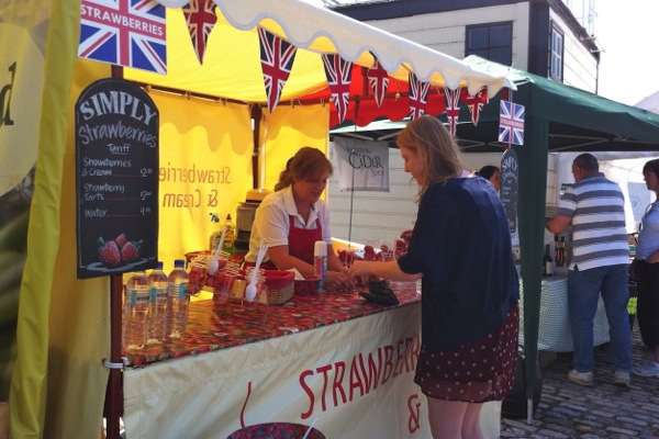 Strawberries and dairy-free cream stall