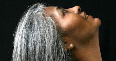 African American woman with gray hair