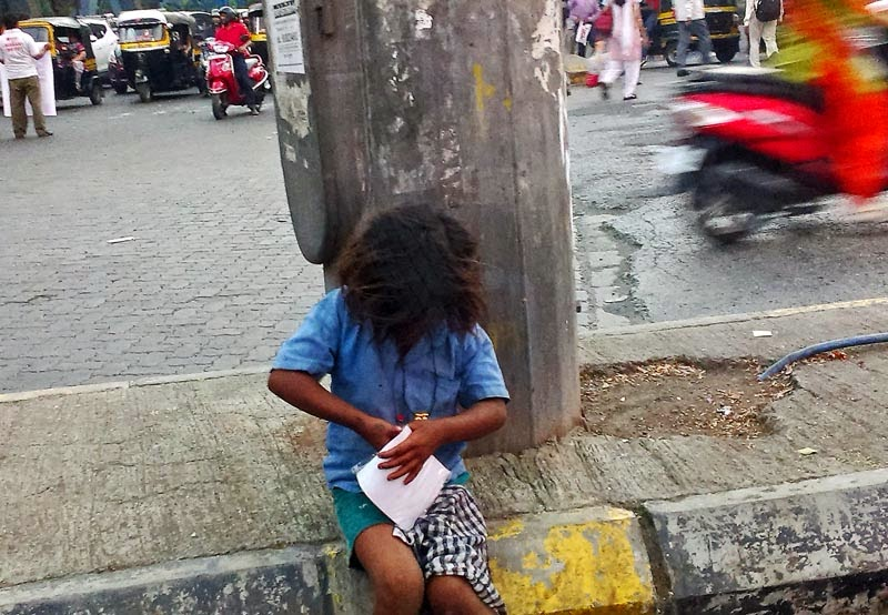 Street child playing