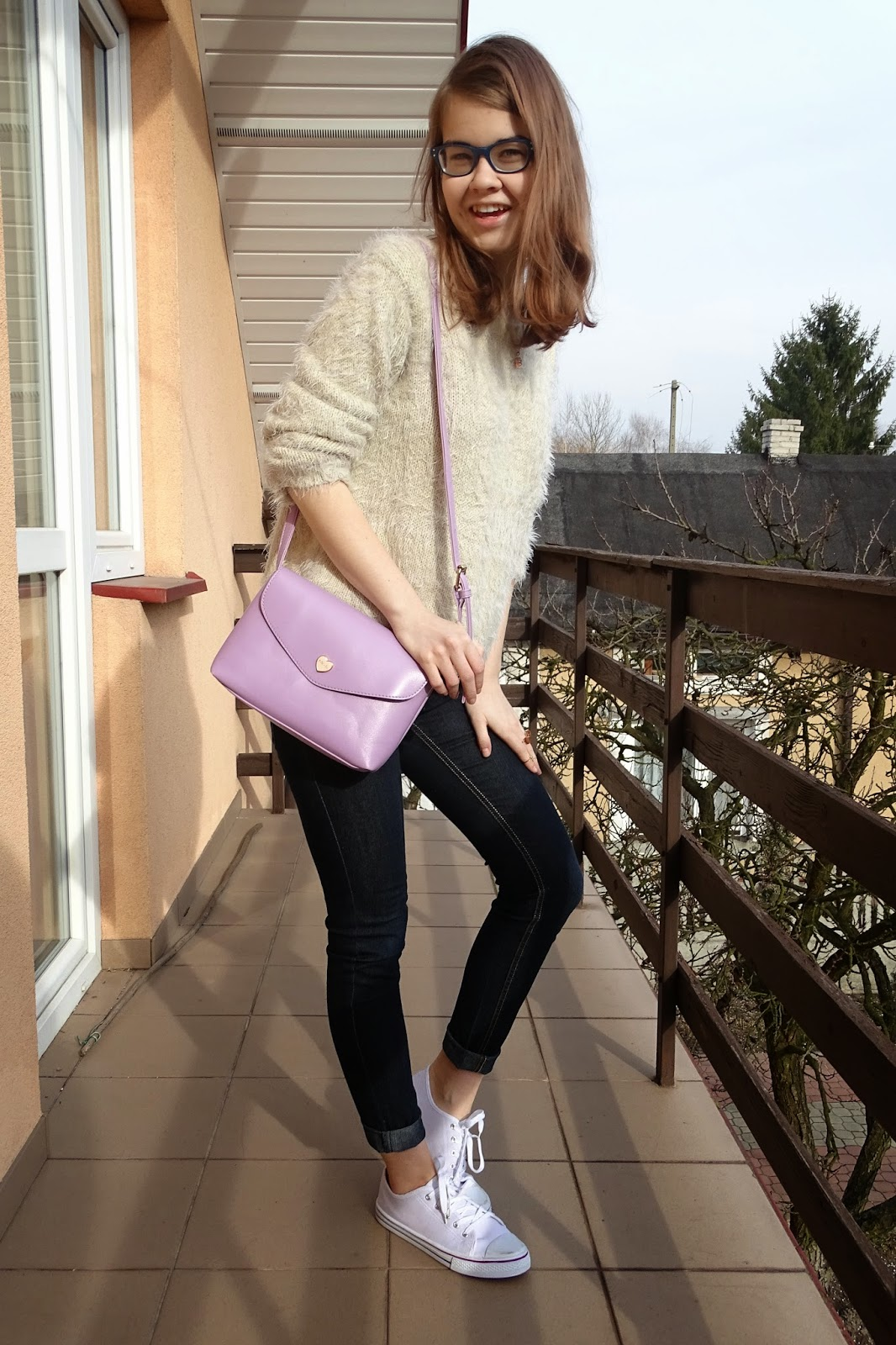 OOTD: Fluffy sweater&lilac bag :*