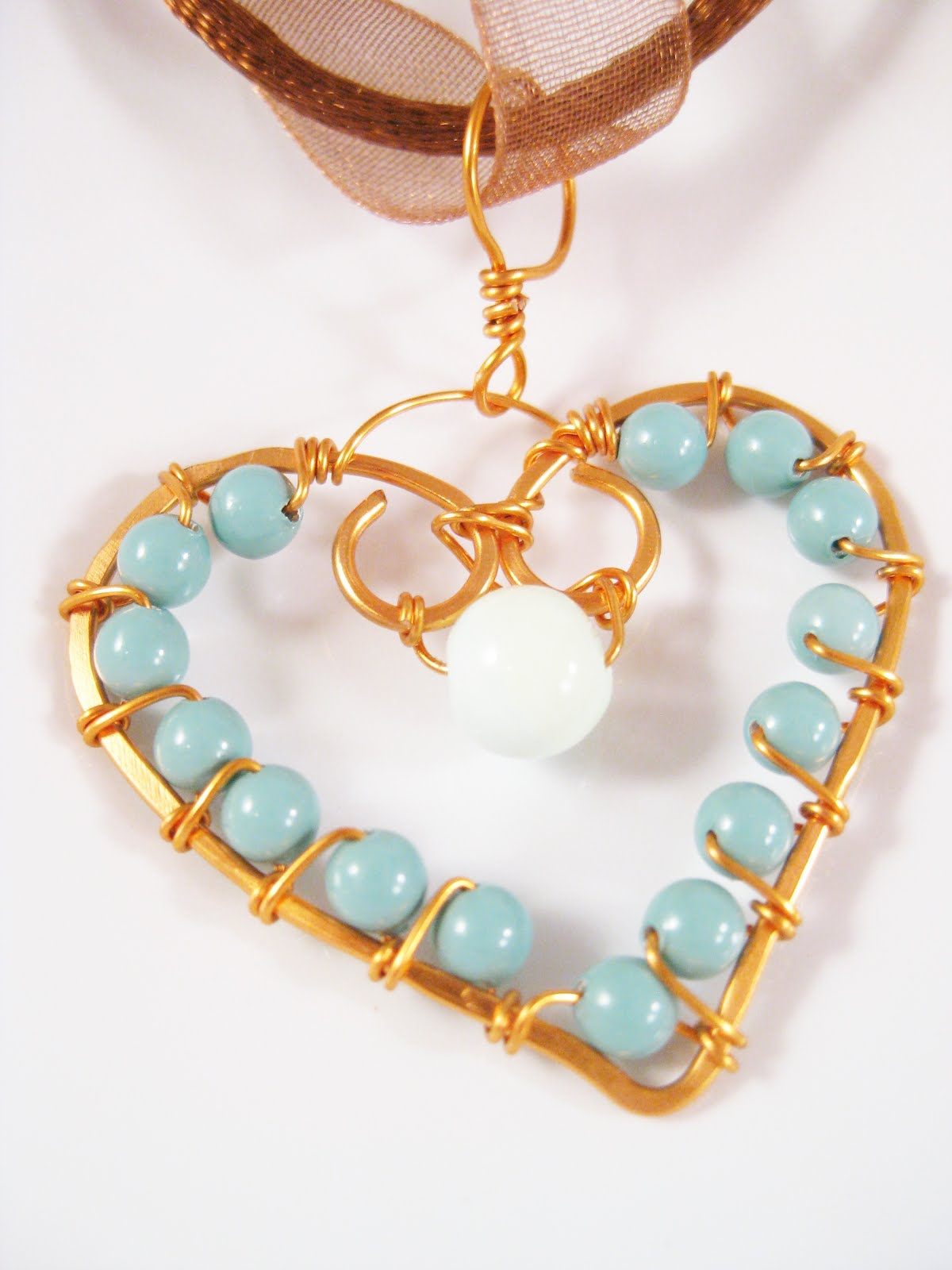 Jade Pearl Copper Wire Wrapped Heart Pendant