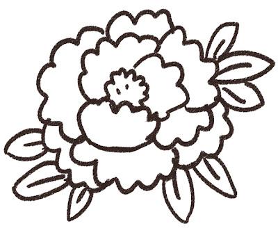 牡丹のイラスト(花) モノクロ線画